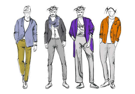 Fashion man. Set of fashiona mens sketches on a white background. Autumn men.