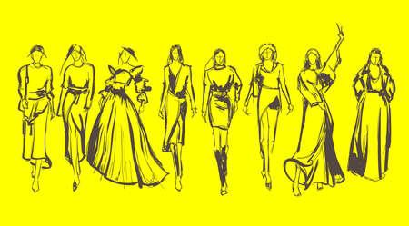 Sketch. Fashion Girls on a yellow background. Vector illustration.  イラスト・ベクター素材
