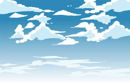 Vector blue sky clouds. Anime clean style. Background design Illustration