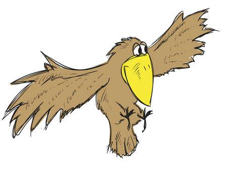 A flying cute cartoon crow. Vector bird. Ilustracja