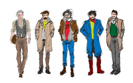 Fashion man. Set of fashiona mens sketches on a white background. Autumn men.