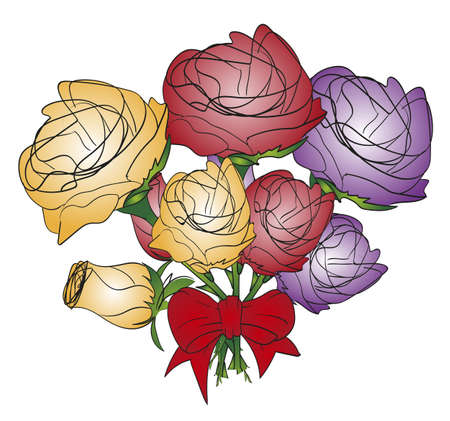 Roses sketch. Bouquet of flowers roses isolated on white background. Hand drawn rose flower.