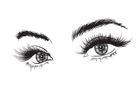 Oeil luxueux de femme dessiné à la main avec des sourcils parfaitement formés et des cils pleins. Idée de carte de visite professionnelle, vecteur de typographie. Look de salon parfait.