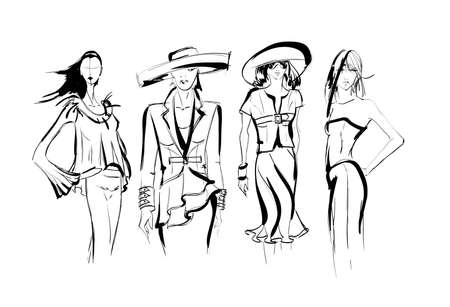 Sketch. Fashion Girls on a white background. Vector illustration