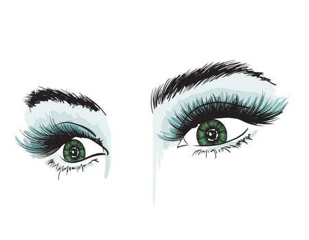Occhi lussuosi della donna disegnati a mano con sopracciglia perfettamente modellate e ciglia piene. Occhi verdi. Look da ragazza. Vettoriali