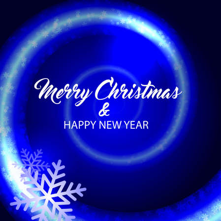 Merry christmas and happy new year. Vector blue background.