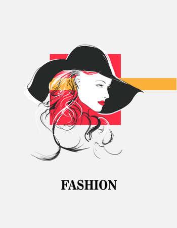 Beautiful Women face. Fashion Girls Illustration. Young woman face Vektorové ilustrace