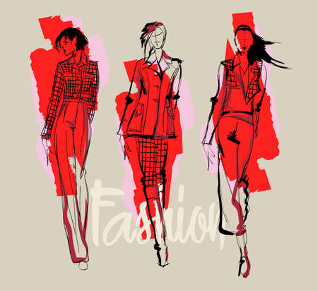 Fashion girl Sketch. Stylish fashion model. Pretty young girl.