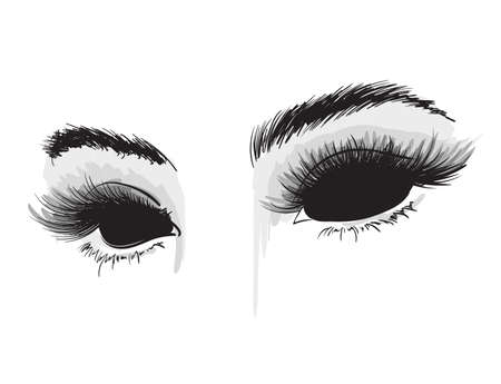 Hand-drawn woman's luxurious eyes. Demonic black eyes. A terrible look. Sexy eyes. Banque d'images - 111683729
