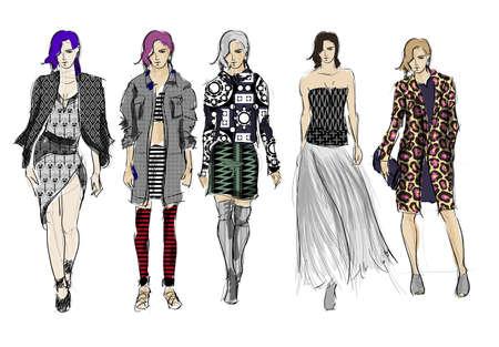 Skizzieren. Mode Mädchen auf einem weißen Hintergrund. Vektorillustration Vektorgrafik