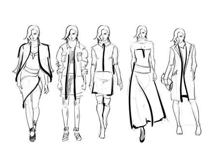 Sketch. Fashion Girls on a white background. Vector illustration 写真素材 - 111684310