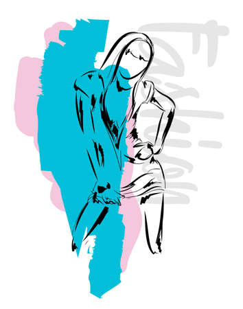 Fashion girl Sketch. Stylish fashion model. Pretty young girl. Stock fotó - 111684355