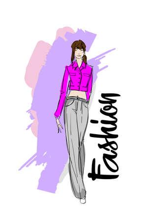 Fashion girl Sketch. Stylish fashion model. Pretty young girl. 写真素材 - 112547212