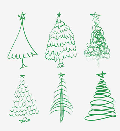 Hand drawn Christmas tree. Set of sketched illustrations of firs. Green ink and brush sketches of spruce for cards and package design. Vector elements Illustration