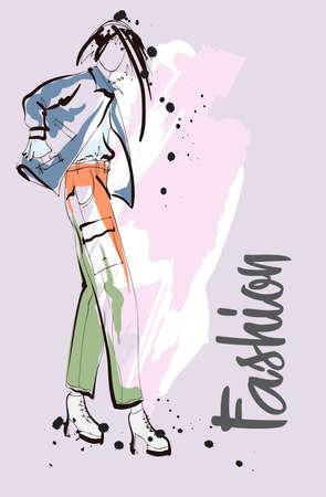 Fashion girl Sketch. Stylish fashion model. Pretty young girl. Vector Illustration