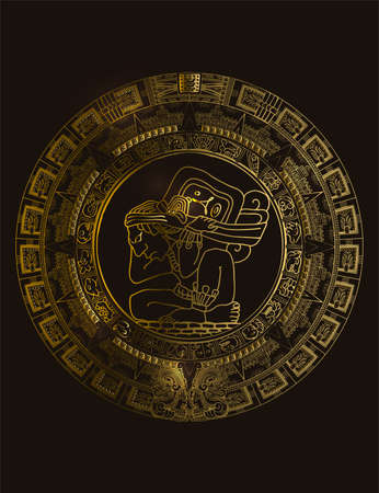 Maya calendar of Mayan or Aztec vector hieroglyph signs and symbols. Golden symbol of maya.