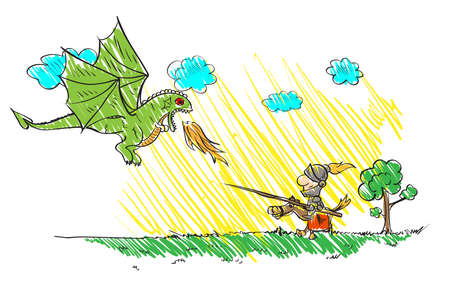 Childs drawing  with a dragon and a knight. Vector sketches with characters of fairy-tales.