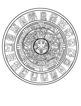 Calendario maya de signos y símbolos de jeroglíficos vectoriales mayas o aztecas Ilustración de vector