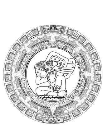 Calendario maya de signos y símbolos de jeroglíficos vectoriales mayas o aztecas