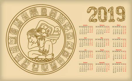 Calendar 2019 with maya symbolics Illustration