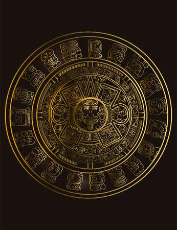 Calendrier maya des signes et symboles de hiéroglyphes vectoriels mayas ou aztèques. Symbole d'or de maya. Vecteurs