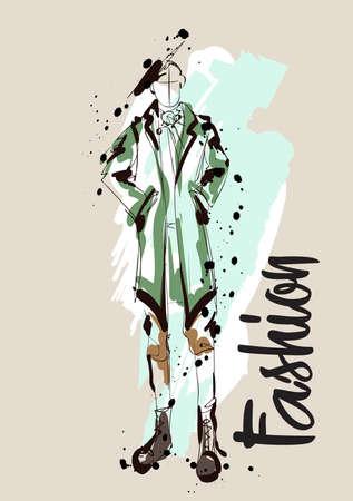 Fashion men sketch. Fashion illustration. Drawing fashion models Illustration