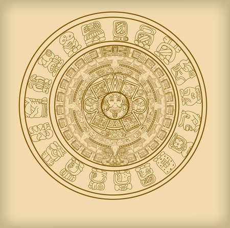 Maya calendar of Mayan or Aztec vector hieroglyph signs and symbols