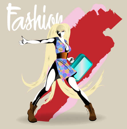 Fashion girl sketch. Fashion illustration. Drawing fashion model 矢量图像
