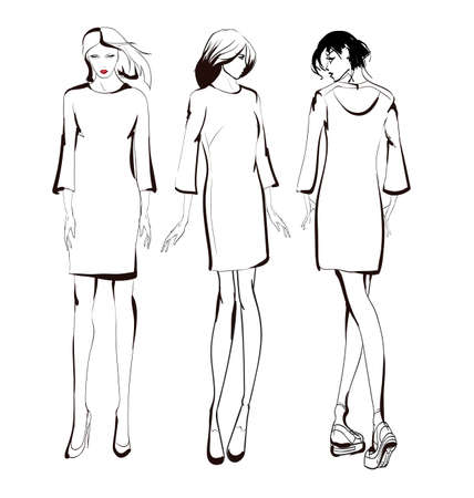 Fashion girls sketch. Fashion illustration. Drawing fashion models