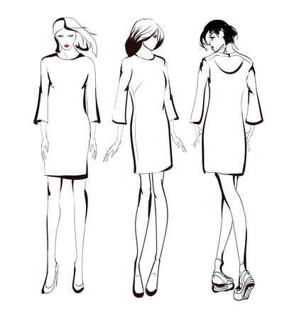 Fashion girls sketch. Fashion illustration. Drawing fashion models