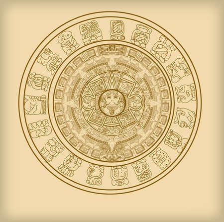 Calendario Maya di segni e simboli di geroglifici vettoriali Maya o Aztechi