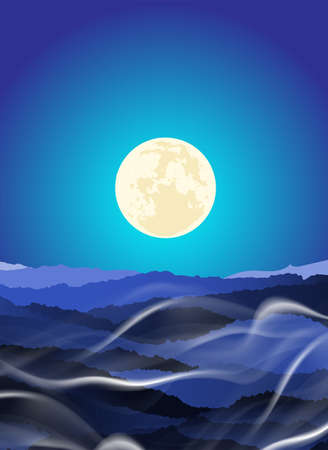 Beautiful Landscape of mountain layer in night moonlight ray and winter fog. Vector illustration.