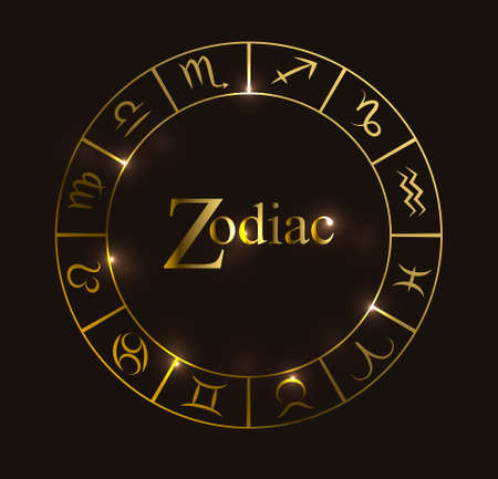 Vector illustration with Horoscope circle, Zodiac symbols and abstract elements. Gold  vector elements. Illustration