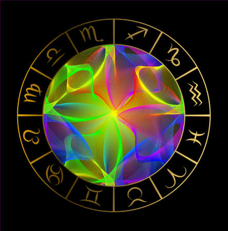 Vector illustration with Horoscope circle, Zodiac symbols and abstract elements. Gold  vector elements. Stock Illustratie