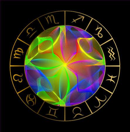 Vector illustration with Horoscope circle, Zodiac symbols and abstract elements. Gold  vector elements. Illusztráció