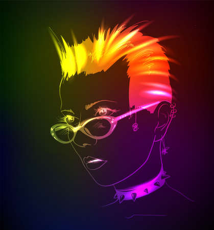 Hand-drawn fashion model from a neon. Vector illustration. A light girl's face. Vectores