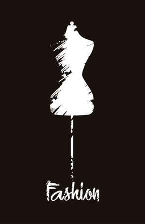 Fashion Mannequin icon. Stylized silhouette on black background