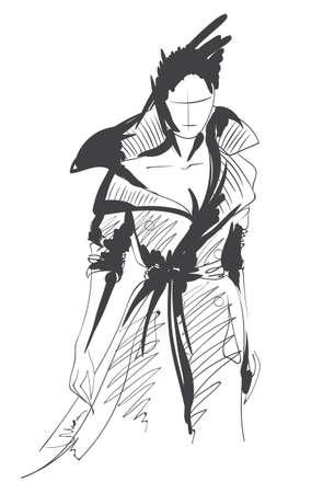 Fashion girl sketch. Fashion illustration. Drawing fashion model Illustration