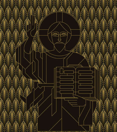 Icon with the Golden face of Jesus in the art deco style. Vector illustration. Illustration
