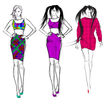 Stylish fashion models. Pretty young girls. Fashion womans Sketch