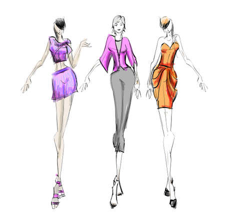 Stylish fashion models. Pretty young girls . Fashion womans Sketch