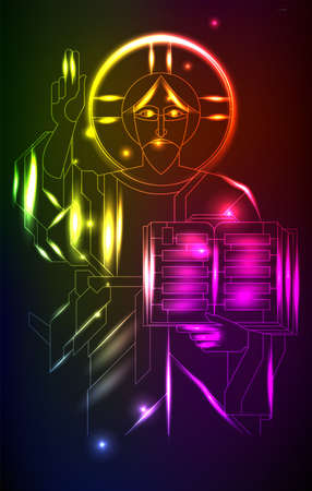 Neon illustration with Jesus, in art deco style. Abstract illustration of religion Illustration