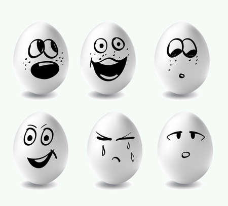 Funny eggs. This is image of funny eggs on white background. Faces on the eggs. Funny easter smile eggs