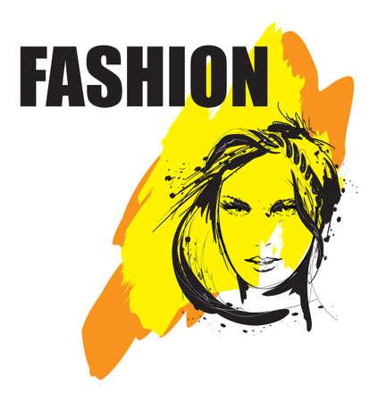 Fashion girls face. Woman face. Hand-drawn fashion model.