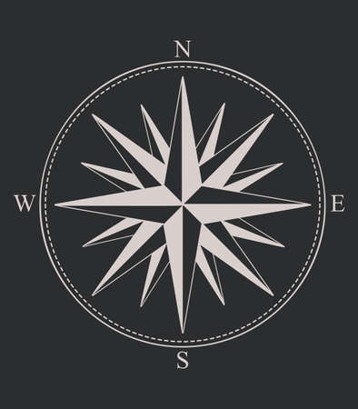 Compass rose or windrose. Rose of the winds. Flat icon for apps and websites Illustration