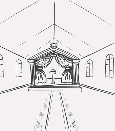 Template of celebration hall for event designers or wedding planners. Sketch vector illustration european view church indoor