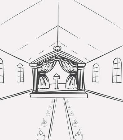 Vorlage der Feierhalle für Eventdesigner oder Hochzeitsplaner. Skizzenvektorillustration der europäischen Ansichtkirche innen