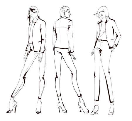 Stilvolle Modemodelle. Hübsche junge Mädchen. Modefrauenskizze