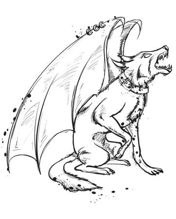 Mythical Winged Dog. A wolf with wings On a white background. Symbolic sketch image