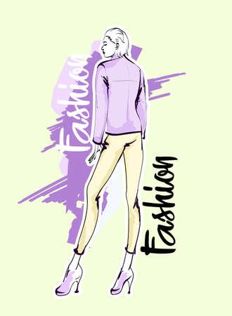 Hand drawn beautiful young woman. Stylish girl. Fashion woman sketch. Fashion model girl.